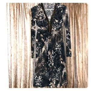Marc Bouwer Dress Animal Print Studded